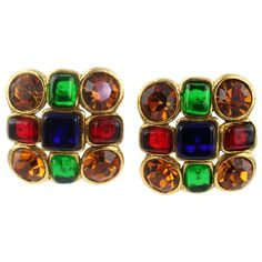 Pair of Chanel Poured Glass and Rhinestone Ear Clips   From a unique collection of vintage clip-on earrings at http://www.1stdibs.com/jewelry/earrings/clip-on-earrings/