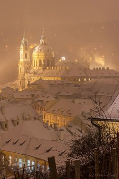 Night Prague snowy