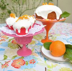 cg pink and orange cake stands made from a plate and stemware.  What a sweet gift to go along with cupcakes!