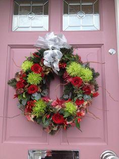 Wreath by Blue Florists on a Farrow & Ball Cinder Rose door Farrow Ball, Farrow And Ball Paint, Cinder Rose Farrow And Ball, Front Door Farrow And Ball, Front Door Colors, Front Doors, Front Porch, Christmas Time, Christmas Wreaths