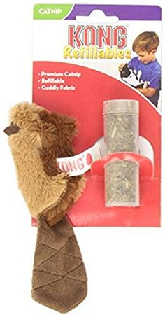 KONG Beaver Refillable Catnip Toy (Colors Vary) >>> Click image to review more details.