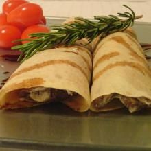 Savory mushroom and goat cheese crepes with balsamic reduction...yes, please