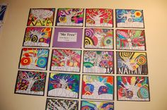 """We named this art project """"Me Tree"""" because students brainstormed adjectives that described them or things they enjoy in their life and they added they words into the tree.  Students then used bright bold colors to fill in the background!"""