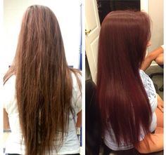 Grown out highlights with level 6 brown to a gorgeous red from kenra color