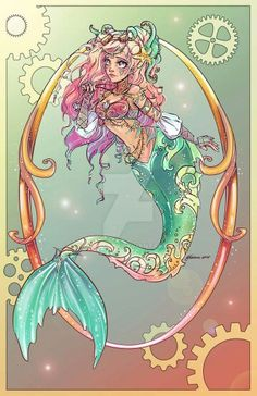 "Little Mermaid by NoFlutter on DeviantArt. My version of Hans Christian Anderson's The Little Mermaid My sister named her Nerissah which is Greek ""From the Sea""  Disney Art, Ariel Disney, Punk Disney, Fantasy Mermaids, Mermaids And Mermen, Disney Tattoos, Disney Little Mermaids, The Little Mermaid, Fantasy Creatures"