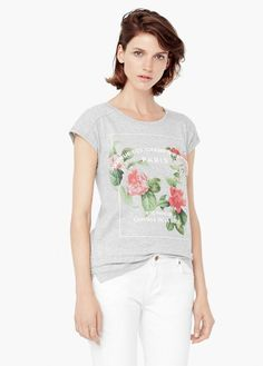 Printed cotton t-shirt - T-shirts and tops for Women Printed Cotton, Mango, My Style, Prints, T Shirt, Clothes, United Kingdom, Florals, Women
