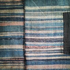 Sri threads Detail of a very good #sakiori or rag woven #kotatsugake or hearth cover, beautiful for its #indigo dyed cotton rag yarn weft.