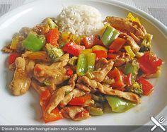 Hähnchenbrustgeschnetzeltes mit Paprika und Brokkoli aus dem Wok, ein beliebtes Rezept aus der Kategorie Geflügel. Bewertungen: 39. Durchschnitt: Ø 4,2.