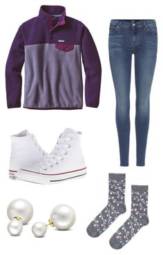 """""""🎄Only 5 more days 🎄OOTD12/21/16"""" by londonbee23 ❤ liked on Polyvore featuring Patagonia, Converse, 7 For All Mankind, Allurez and Topshop"""