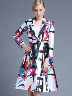 Multicolor V Neck Long Sleeve Pockets Print Coat