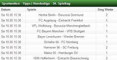 Hier kommen die Sportwetten Tipps zum 34. Spieltag der Fussball Bundesliga. Mit unserem Teamverleich könnt ihr alle Fussball Paarungen selber checken. http://www.wettcheck24.com/teamvergleich.html
