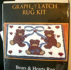 Graph N Latch Rug Kit Bears and Hearts MCG Textiles 26 x 20 inches NIB #MCGTextiles