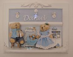 Urso Familia Porta Maternidade Luz Led Bebê Quadro Ursinhos - R$ 289,80 no MercadoLivre