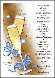 new years party invite wording samples with bows and glasses at holiday invitations card
