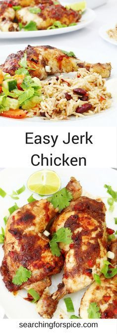 Easy jerk chicken recipe that's not too hot so makes a perfect family meal.  A great marinade gives this jerk chicken so much taste.   Great baked in the oven or barbecued. #JerkChicken #CaribbeanFood #Recipes
