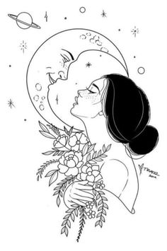 There was a reason she was so romantic about the moon. It never asked her questions or begged for the answers nor did she ever have to prove herself to it. It was always just there – breathing, shining and in most ways humans can't understand: listening. Cool Art Drawings, Pencil Art Drawings, Art Drawings Sketches, Easy Drawings, Tattoo Drawings, Tattoo Sketches, Drawing Ideas, Ink Illustrations, Dog Tattoos
