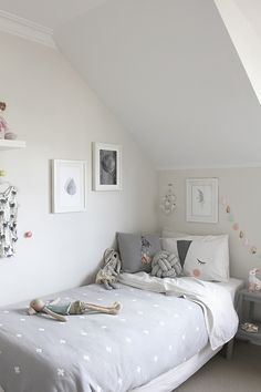 Sweet girl's room in grey tones