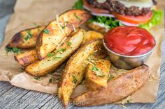 These oven baked potato wedges are easy and delicious every time. The cheese melts onto the potato wedges and they are so good!!