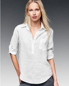 Blusa de lino de mujer Gap en blanco