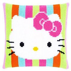 Knitting, crochet, embroidery, sewing and tons of inspiration for your next project. Cross Stitch Cards, Cross Stitch Animals, Counted Cross Stitch Kits, Chat Hello Kitty, Hello Kitty Photos, Hand Embroidery Kits, Cute Embroidery, Crochet Pillow, Tapestry Crochet