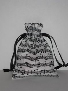 Music Note Black and White Bag for money dance No Pins On My Dress!