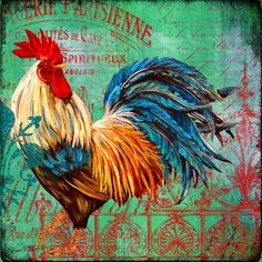 Le Rooster Heaven-b by Jean Plout - Le Rooster Heaven-b Painting - Le Rooster Heaven-b Fine Art Prints and Posters for Sale Rooster Painting, Rooster Art, Rooster Decor, Ceramic Rooster, Chicken Painting, Chicken Art, Chicken Signs, Chicken Crafts, Chicken Pictures