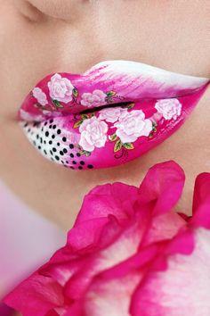 Rose Petal Lip Art by Karla Powell