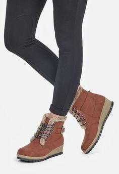 c6d59e67697 JustFab. Wedge BootsBootie BootsWomen s BootsFur TrimHigh KneesFaux ...