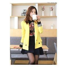 [픽키스트] korea fashion 스티치 자켓 나무딸기 여성의류 봄자켓 배색자켓 배색카라와 소매 체크무늬로 고급스러운 봄자켓 - 62,700원 by 나무딸기
