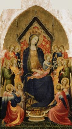 Painting by Gherardo Starnina (active 1378 - about 1413), ca 1410, Madonna and Child with Musical Angels, tempera and gold leaf on panel. (Florentine)