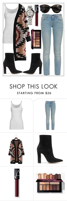"""""""Untitled #1224"""" by aagyekumwaa ❤ liked on Polyvore featuring Juvia, Yves Saint Laurent, Gianvito Rossi, Max&Co., NARS Cosmetics and Charriol"""