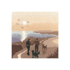 A nostalgic stitch, this peaceful scene from Heritage Crafts' Silhouette series features a couple with their dogs taking a morning coastal walk. Heritage Crafts, Hand Embroidery Kits, Cross Stitch Kits, Dog Walking, Moose Art, Projects To Try, Animals, Silhouettes, Ebay