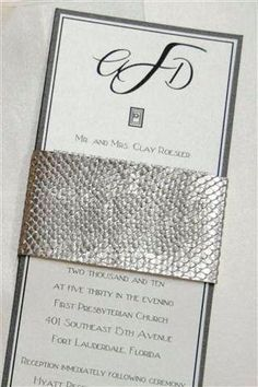 Silver and Black Rhinestone Leather Textured Wedding Invitation by Fort Lauderdale Invitations - Visit our website for ordering information or search for us on Etsy @ Milgrim Designs! Fort Lauderdale * Hollywood * Miami * Palm Beaches * We Ship across the USA!