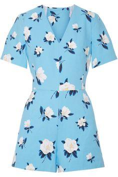 Draper James | Cutout floral-print cotton-piqué playsuit | NET-A-PORTER.COM