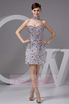 Short/Mini Sweetheart Beading Colorful Sheath/Column Zipper-Up Stain Cocktail Dress with Neck - Special Occasion Dresses Cute Wedding Dress, Fall Wedding Dresses, Colored Wedding Dresses, Dream Wedding, Perfect Wedding, Pageant Dresses, Homecoming Dresses, Evening Dresses, Girls Dresses
