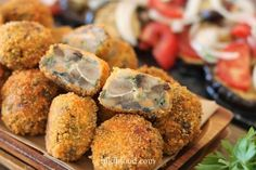 Baked Mushroom Falafel - These were just perfect.I love how crispy the balls are, they make a great snack that's fun to eat. NikiB - Making Food with Love Baked Mushrooms, Stuffed Mushrooms, Making Food, Food To Make, Gram Flour, Grated Cheese, How To Double A Recipe, Deep Dish, Falafel