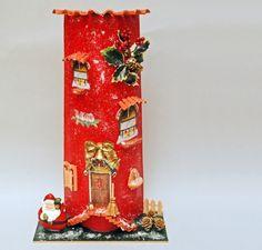 tegole decorate, tegole decoupage, tegole, decorazione fai da te, tegole artistiche Paper Moon, Paperclay, Advent Calendar, Repurposed, Miniatures, Paper Crafts, Holiday Decor, Create, Artwork