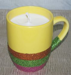 Pineapple Coconut Soy CandleYellow Glitter by DancingWindDesigns