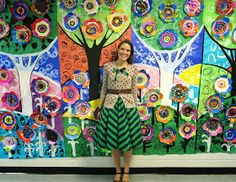 What the Art Teacher Wore and INTERNATIONAL DOT DAY! I thought I'd share with you what my students created for International Dot Day in this here What I Wore post because I'm so stinkin' excited! My lil artist friends Group Art Projects, Collaborative Art Projects, School Art Projects, Diy Projects, Kindergarten Art, Preschool Art, International Dot Day, School Murals, Ecole Art