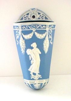 German jasperware jasper ware wall pocket classic wedgwood blue and white colors