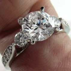 14k Solid White or Yellow Gold Gaimond Engagement Ring Round Cut 3 Stones | eBay