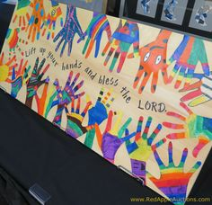 Hands on wood with bible verse preschool art, preschool bible verses, bible verse crafts Preschool Auction Projects, Collaborative Art Projects For Kids, Class Auction Projects, Group Art Projects, Classroom Art Projects, Art Classroom, Collaborative Mural, Auction Ideas, School Projects