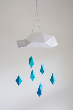 Blue Poly Rain Cloud Mobile - paper art sculpture decoration by mtnvl on Etsy…