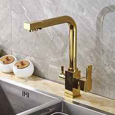 Rozin Deck Mounted Single Hole Kitchen Sink Faucet with Purified Water Spout Gold Polished - - Amazon.com