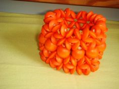 All Orange-colored Wooden Beaded Bracelet!