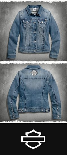 Washed and worn for a sun-faded look. | Harley-Davidson Women's Patches & Pins Denim Jacket