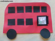 This London bus craft is made from card and glue dots. So easy for little kids to make!