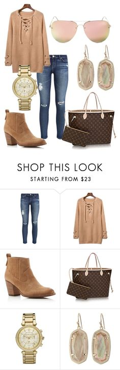"""""""Untitled #29"""" by rkromtit on Polyvore featuring AG Adriano Goldschmied, Dolce Vita, Louis Vuitton, Michael Kors, Kendra Scott and Quay"""