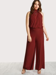3e0f93eb26f2e Sleeveless Plus Size Jumpsuits. Longline Plus Size Jumpsuits Decorated with  Knot. Designed with Halter. Trend of Designed in Red. Fabric is very  stretchy.