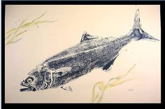 Vicious 33 inch Bluefish Art ORIGINAL fish rubbing by fishfanatic, $80.00